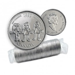 1999 Canadian 25-Cent September: Canada Through a Child's Eye Millennium Quarter Original Coin Roll