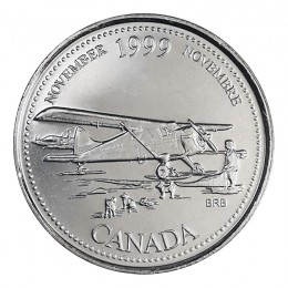 1999 Canadian 25-Cent November: The Airplane Opens the North Millennium Quarter Coin (Brilliant Uncirculated)