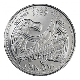 1999 Canadian 25-Cent October: A Tribute to First Nations Millennium Quarter Coin (Brilliant Uncirculated)