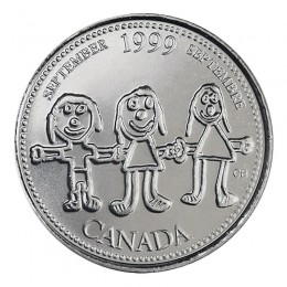 1999 Canadian 25-Cent September: Canada Through a Child's Eye Millennium Quarter Coin (Brilliant Uncirculated)