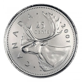 2001 Canadian 25-Cent Caribou Quarter Coin (Brilliant Uncirculated)