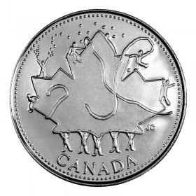 2002-P (1952-) Canadian 25-Cent Canada Day 135th Anniv/Queen's Jubilee Quarter Coin (Brilliant Uncirculated)