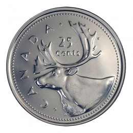 2002-P (1952-) Canadian 25-Cent Caribou/Queen's Jubilee Quarter Coin (Brilliant Uncirculated)