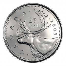 2003-P Canadian 25-Cent Caribou/New Effigy Queen Quarter Coin (Brilliant Uncirculated)