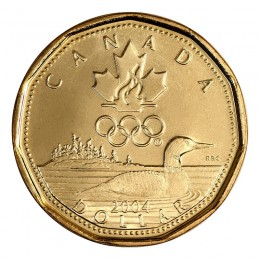 2004 Canadian $1 Olympic Lucky Loonie Dollar (Brilliant Uncirculated)