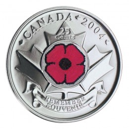 2004-P Canadian 25-Cent Remembrance Poppy Coloured Quarter Coin (Brilliant Uncirculated)