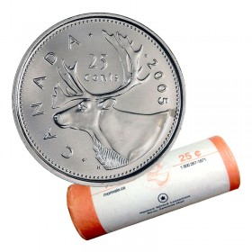 2005-P Canadian 25-Cent Caribou Quarter Original Coin Roll