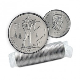 2007 Canada Vancouver 2010 Olympics 25-cent Biathlon Original Coin Roll