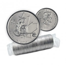 2007 Canada Vancouver 2010 Paralympics 25-cent Wheelchair Curling Original Coin Roll