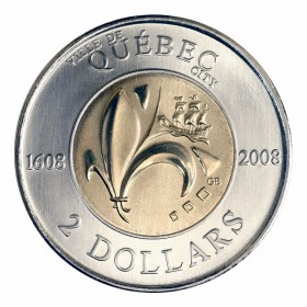 2008 (1608-) Canadian $2 Quebec City 400th Anniv Toonie (Brilliant Uncirculated)