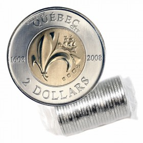 2008 (1608-) Canadian $2 Quebec City 400th Anniv Toonie Original Coin Roll