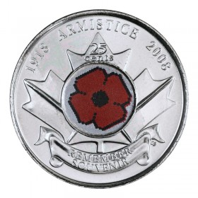 2008 (1918-) Canadian 25-Cent Poppy Armistice 90th Anniv Coloured Quarter Coin (Brilliant Uncirculated)