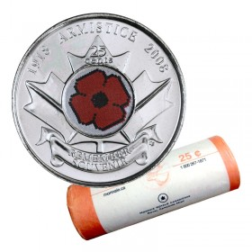2008 (1918-) Canadian 25-Cent Poppy Armistice 90th Anniv Coloured Quarter Original Coin Roll