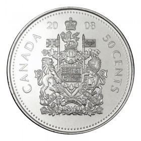 2008 Canadian 50-Cent Coat of Arms Half Dollar Coin (Brilliant Uncirculated)