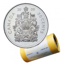 2009 Canadian 50-Cent Coat of Arms Half Dollar Special Wrap Coin Roll