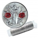 2010 (1945-) Canadian 25-Cent Remembrance Poppy/WWII 65th Anniv Coloured Quarter Original Coin Roll