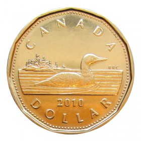 2010 Canadian $1 Common Loon Dollar Coin (Brilliant Uncirculated)