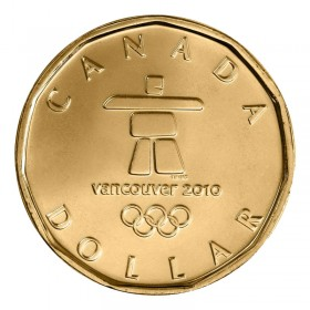 2010 Canadian $1 Vancouver Olympics Inukshuk Lucky Loonie Dollar Coin (Brilliant Uncirculated)