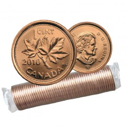 2010 NON-MAGNETIC Canadian 1-Cent Maple Leaf Twig Penny Original Coin Roll