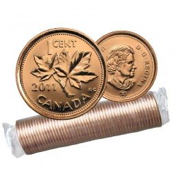2011 NON-MAGNETIC Canadian 1-Cent Maple Leaf Twig Penny Original Coin Roll