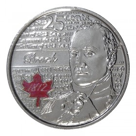 2012 Canadian 25-Cent Heroes of 1812: Sir Isaac Brock Coloured Quarter Coin (Brilliant Uncirculated)