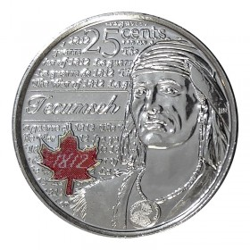 2012 Canadian 25-Cent Heroes of 1812: Tecumseh Coloured Quarter Coin (Brilliant Uncirculated)