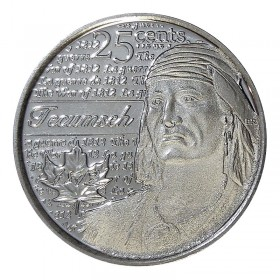 2012 Canadian 25-Cent Heroes of 1812: Tecumseh Non-coloured Quarter Coin (Brilliant Uncirculated)