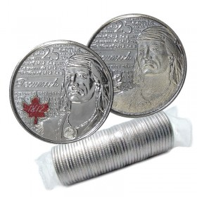 2012 Canadian 25-Cent Heroes of 1812: Tecumseh Quarter Original Coin Roll (Some Coloured)