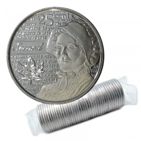 2013 Canadian 25-Cent Heroes of 1812: Laura Secord Non-coloured Quarter Original Coin Roll