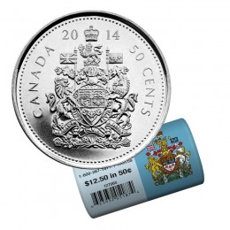2014 Canadian 50-Cent Coat of Arms Half Dollar Special Wrap Coin Roll