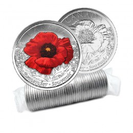 2015 Canadian 25-Cent Remembrance Poppy Quarter Original Coin Roll (Some Coloured)
