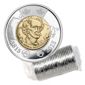 2015 (1815-) Canadian $2 Sir John A. Macdonald's Birth 200th Anniv Toonie Original Coin Roll