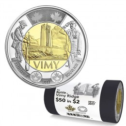 2017 Canadian $2 The Battle of Vimy Ridge 100th Anniv Remembrance Toonie Special Wrap Coin Roll