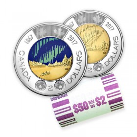 2017 (1867-) Canadian $2 Dance Of The Spirits Toonie Original Coin Roll (Some Coloured, Glow In The Dark)