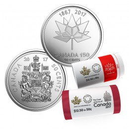 2017 Canadian 50-Cent Coat of Arms and Canada 150th Special Wrap Rolls - 2 Pack