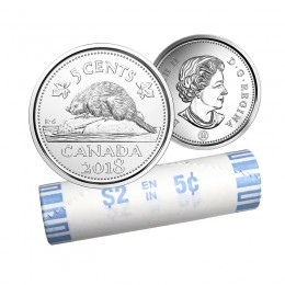2018 Canadian 5-Cent Beaver Nickel Original Coin Roll