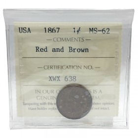 1867 American (US) 1-Cent Indian Head Penny Coin ICCS Graded MS-62