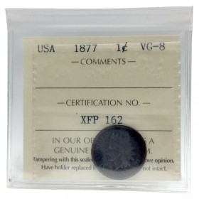 1877 American (US) 1-Cent Indian Head Penny Coin ICCS Graded VG-8