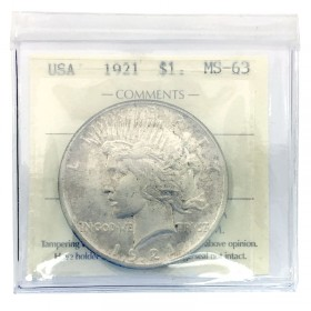 1921 American (US) $1 Peace Silver Dollar Commemorative Coin ICCS Graded MS-63