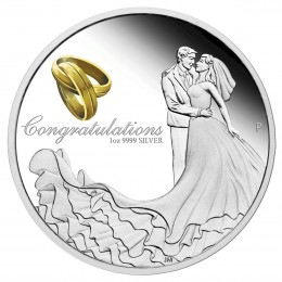 2018 Australian $1 Wedding Congratulations - 1 oz Fine Silver Coin