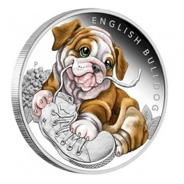 2018 Tuvalu 50-Cent Puppies English Bulldog 1/2 oz Fine Silver Proof Coin