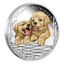 2018 Tuvalu 50-Cent Puppies Golden Retriever 1/2 oz Fine Silver Proof Coin
