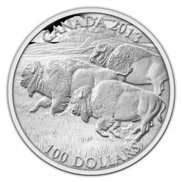 2013 Canada Fine Silver $100 Coin - $100 for $100 - Bison Stampede