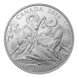 2014 Canadian $100 for $100 Rocky Mountain Bighorn Sheep Fine Silver Coin