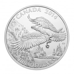 2014 Canadian $100 for $100 Bald Eagle - 1 oz Fine Silver Coin