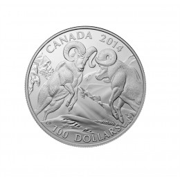 2014 Canadian $100 for $100 Bighorn Sheep - 1 oz Fine Silver Coin