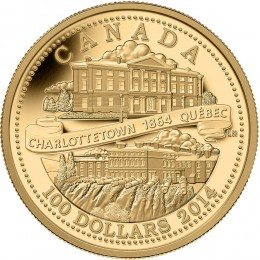 2014 Canada 14-karat Gold $100 Coin - 150th Anniversary of the Quebec and Charlottetown Conferences