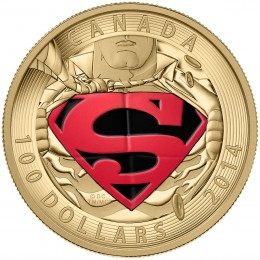 2014 Canada 14-karat Gold $100 Coin - Iconic Superman Comic Book Covers: The Adventures of Superman #596