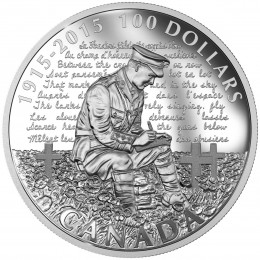 2015 Canadian $100 In Flanders Fields, 100th Anniversary - 10 oz Fine Silver Coin