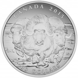 2015 Canadian $100 for $100 Muskox - 1 oz Fine Silver Coin